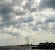 Cienfuegos. Ship in Caribbean sea, in Cienfuegos Harbour, Cuba. Cloudy Sundown Royalty Free Stock Photos
