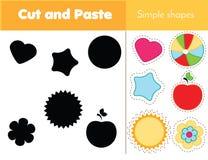 Cienia dopasowywania gra dla berbeci Uczyć się prostych kształty Edukacyjna gra dla dzieci Zdjęcie Stock