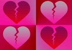 Cienie cztery łamanego czerwonego serca - ilustracja royalty ilustracja