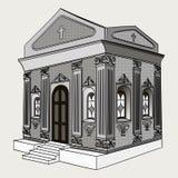 Cienie szarość, wektor Crypt, cmentarz, kościół, buduje ilustracja wektor