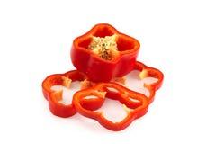 Cienieję pokrajać czerwonych słodkich pieprze, pokrojony gęsty słodki pieprz zdjęcie royalty free