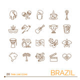 Cienieje kreskowe ikony Brazylia Obraz Stock