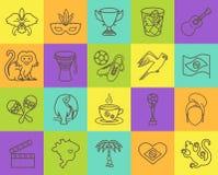 Cienieje kreskowe ikony Brazylia 4 Zdjęcia Royalty Free