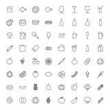 Cienieje Kreskowe ikony Dla jedzenia i napojów Obrazy Royalty Free