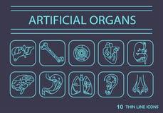 Cienieje kreskowe ikony - sztuczni organy 2 Zdjęcie Royalty Free