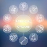 Cienieje kreskowe ikony - sztuczni organy 11 Obrazy Royalty Free