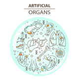 Cienieje kreskowe ikony - sztuczni organy 13 Obrazy Royalty Free