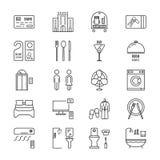 Cienieje kreskowe ikony ustawiającego hotel i odpoczywa ilustracji