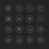 Cienieje kreskowe ikony z okręgiem dla sieci & wiszącej ozdoby - 6 Robi zakupy Fotografia Royalty Free