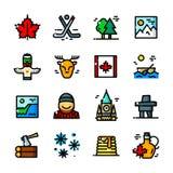 Cienieje kreskowe Kanada ikony ustawiać, wektorowa ilustracja royalty ilustracja