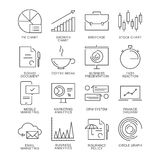 Cienieje kreskowe marketingowe ikony ustawiać odizolowywać na białym tle Zdjęcie Stock