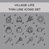 Cienieje kreskowe wektorowe ikony ustawiać wioski życie Royalty Ilustracja