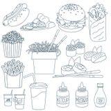 Cienieje kreskowego fastfood royalty ilustracja