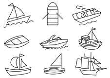 Cienieje kreskowego ikony łodzi set, transport royalty ilustracja