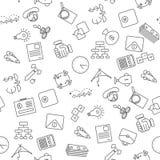 Cienieje kreskowych ikon bezszwowego wzór Zdjęcia Royalty Free