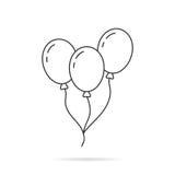 Cienka linia balonu ikona z cieniem Zdjęcia Stock
