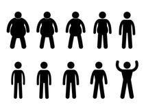 cienki gruby mięśniowy schudnięcie Zdjęcia Stock