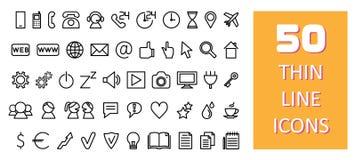 50 cienkich kreskowych ikon Zdjęcie Stock