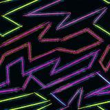 Cienkie kolor linie na czarnego tła wektoru abstrakcjonistycznym wzorze w graffiti stylu jakościowej wektorowej ilustraci dla twó Zdjęcie Stock