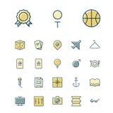Cienkie kreskowe ikony dla czasu wolnego, podróży i sporta, Fotografia Stock