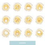 Cienkie kreskowe ikony ustawiać kuchenni naczynia, gospodarstw domowych narzędzia i tableware, Obraz Royalty Free