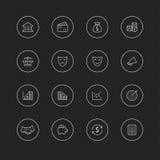 Cienkie kreskowe ikony z okręgiem dla sieci & wiszącej ozdoby - 21 biznesu pieniądze & finanse Fotografia Royalty Free