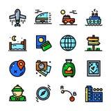 Cienkie kreskowe podróży ikony ustawiają, wektorowa ilustracja Zdjęcie Royalty Free