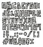 Cienkiego pióra Doodle bloku Śmiała Wektorowa chrzcielnica z Uppercase listami, Liczy & Podpisuje Fotografia Royalty Free