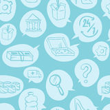 Cienkiego zakupy handlu detalicznego linii białego bezszwowego deseniowego handlu elektronicznego online sklep i rynek projektuje Obrazy Stock