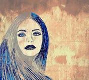 ścienna graffiti kobieta Zdjęcia Stock