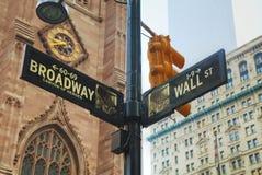 Ścienna ulica i Broadway podpisujemy wewnątrz Miasto Nowy Jork Zdjęcia Stock