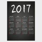2017 ściennego kalendarza czerni blackboard z biel kredy tekstem eps10 Zdjęcia Royalty Free
