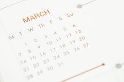 Ścienny kalendarz Marzec Zdjęcia Stock