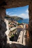 Ścienny widok od wierza Dubrovnik kasztel Zdjęcie Royalty Free