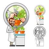 Científico de planta Cartoon Character Cutting una hoja stock de ilustración