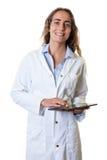 Científico de sexo femenino caucásico de risa con la tableta Foto de archivo libre de regalías