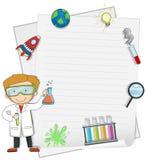 Científico de sexo masculino con la plantilla de la nota stock de ilustración