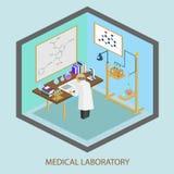 Científico del laboratorio médico, tubos de ensayo, frascos, medicina ilustración del vector