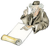 Científico divertido de la historieta en ropa del vintage stock de ilustración