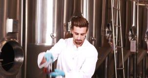 Científico enfocado que mira el cubilete con la cerveza metrajes