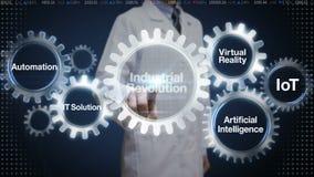 Científico, engranaje del tacto del ingeniero con la palabra clave, automatización, solución de las TIC, realidad virtual, 'Revol stock de ilustración