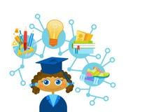 Científico feliz lindo del niño de la historieta del casquillo y del vestido de la graduación de Weating de la muchacha de Liitle ilustración del vector