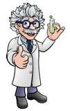 Científico Holding Test Tube de la historieta stock de ilustración