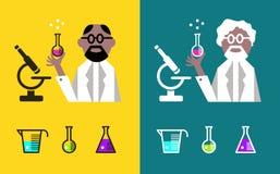 Científico Holding un frasco con los líquidos stock de ilustración
