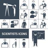Científico Icons Black Imágenes de archivo libres de regalías