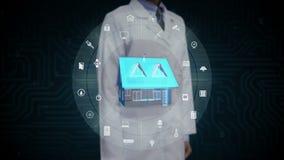 Científico, ingeniero que toca el aparato electrodoméstico elegante de IoT, Internet de cosas, inteligencia artificial almacen de video