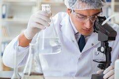 Científico joven del investigador que hace un expe de la contaminación de la prueba de agua Fotos de archivo libres de regalías