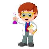 Científico o profesor que sostiene el frasco stock de ilustración