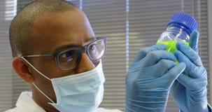 Científico que examina la solución química 4k metrajes