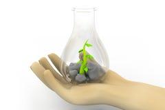Científico que examina las pequeñas plantas stock de ilustración